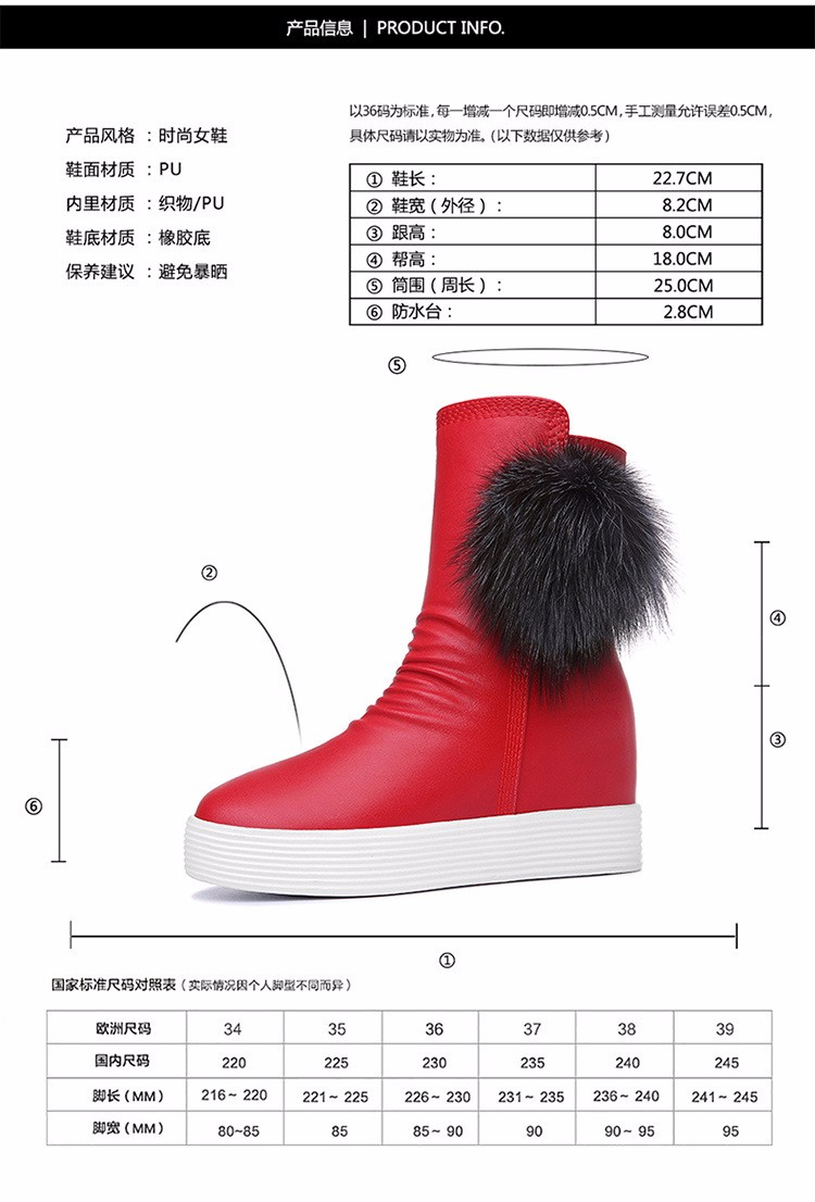 2016 Fashion Wedges Ankle Boot Causal Shoes For Woman Spring Fall Women Shoes Leather Black Silver Red Botas Mujer