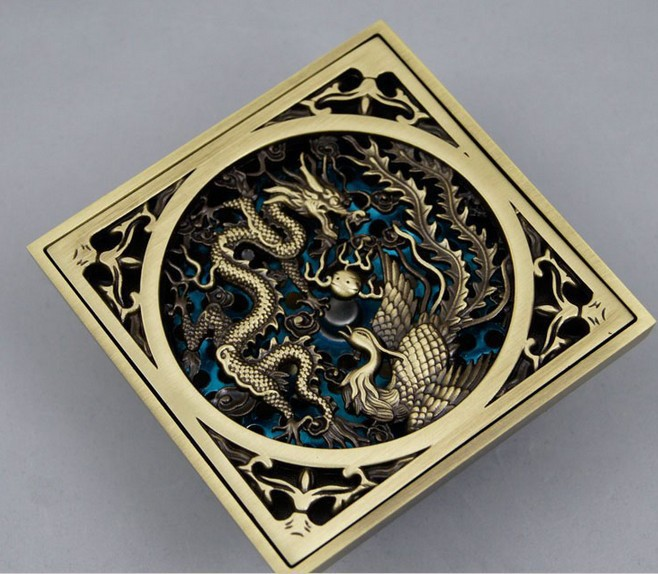 Antique Brass Chinese Dragon Style Floor Drain Bathroom Ground Overflow Fitting Strainer Free Shipping floor drainage<br><br>Aliexpress