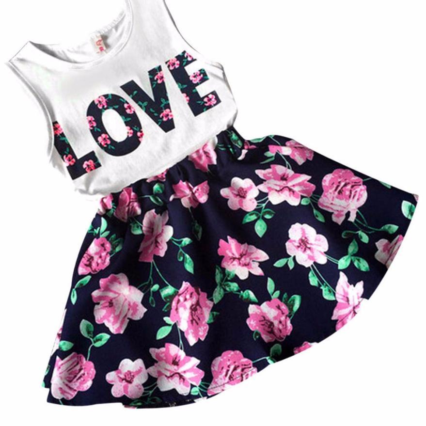 baby girls clothes set 2016 2 pcs letters printed vest floral skirt girls boutique clothing kids. Black Bedroom Furniture Sets. Home Design Ideas