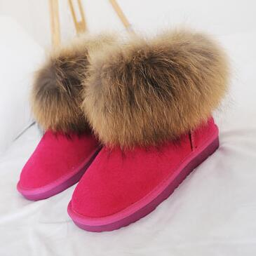 Фотография Good quality winter women boots cute colors fox fur Genuine leather thick warm girl women snow boots outdoor casual,H063