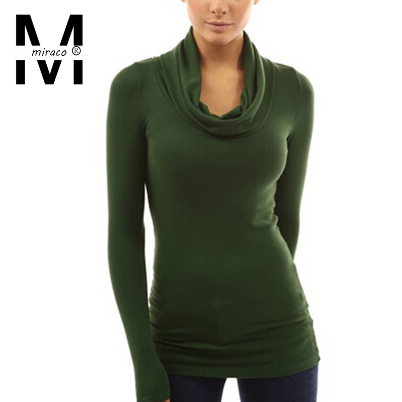 Miraco new arrival autumn winter brief solid color long for Long sleeve black turtleneck shirt
