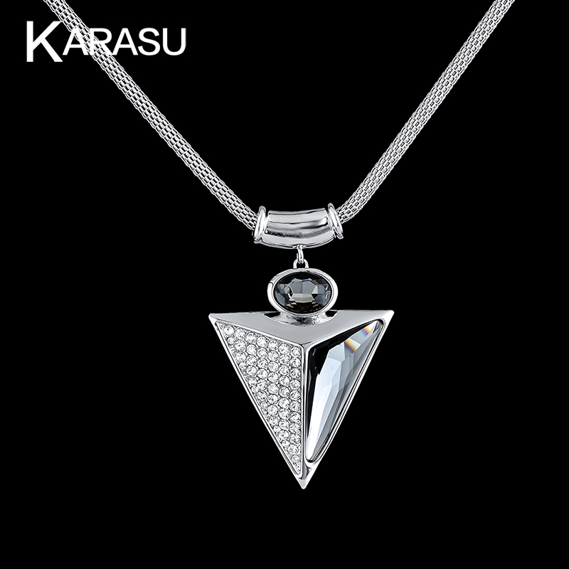 Vintage Real White Gold Filled Triangle Shape full Crystal/Glass Pendant Short Chain Platinum Plated Necklace for Women Jewerly(China (Mainland))