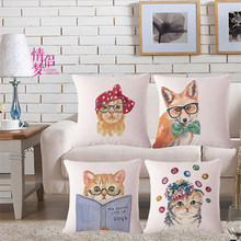 Watercolor Cute Cat Pattern Print Throw Pillow