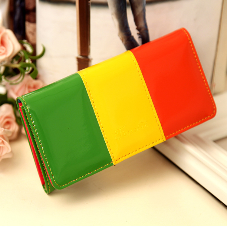Women in the Wallet wallet card candy mixed colors bright skin hand bag change purse Free shipping(China (Mainland))