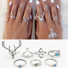 7PCS\SET Bohemian Style Vintage Anti Silver Color Rings turquoise deer Fawn geometry arrow Rings Set for women J-295(China (Mainland))
