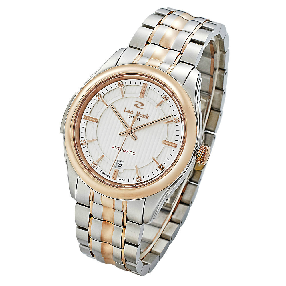 Top brand business fashion casual watch gold bezel stainless steel bracelet date display automatic mechanical men's watch(China (Mainland))