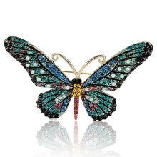 Donne di Modo Blucome Farfalla Spille Pins Per Le Donne colares Perfetto di Cristallo Del Rhinestone Hijab Pins E Spille Spilla Pins(China)