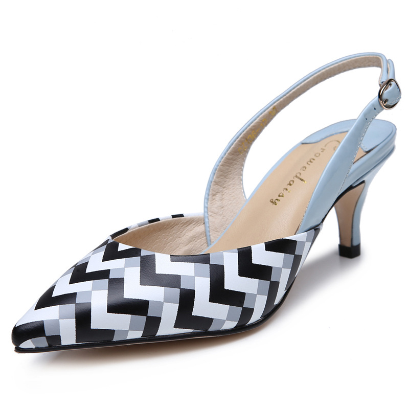 Фотография 2016 European and American fashion new leather shoes shallow mouth high-heeled stripe word buckle female heel shoes