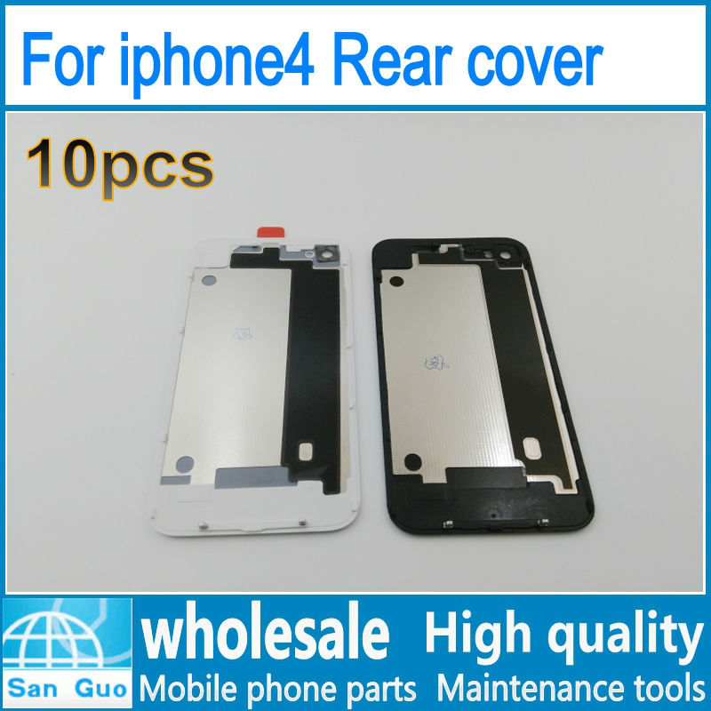 10pcs wholesale Rear cover For iphone4 Back cover glass rear cabinet for Phone Housings Rear Door Battery Cover freeshipping(China (Mainland))