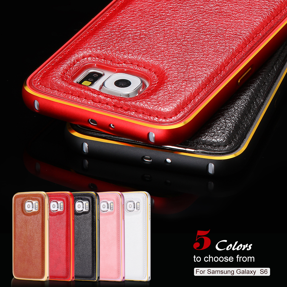 Case For Samsung Galaxy S6 G9200 G920 G925F Aluminum Back Cover Luxury Gold Metal Frame PU Leather Back Capa Cover High Quality(China (Mainland))