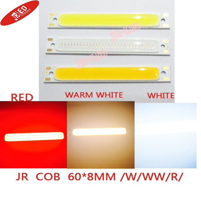 freshiping! 10PCS Red /warmwhite/whiteColor LED COB Source Bar chip diodes 5W LED COB strip beads low voltage 3V For DIY light(China (Mainland))