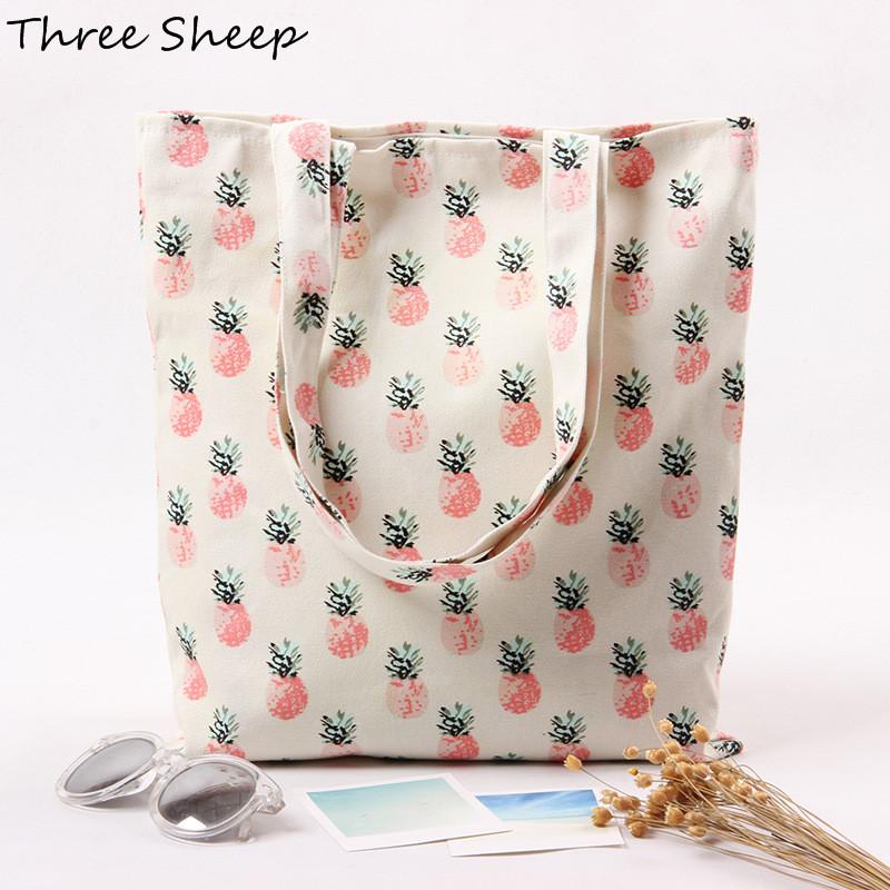 designer hand bag pineapple canvas handbag white canvas bag cute bags women sac a main femme de marque bolsa em lona feminina(China (Mainland))