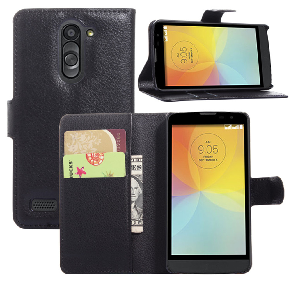 D335 Case Lychee Print PU Leather Case For LG L Bello Dual D335 Case Flip Stand Wallet Phone Shell Back Cover With Card Holder(China (Mainland))