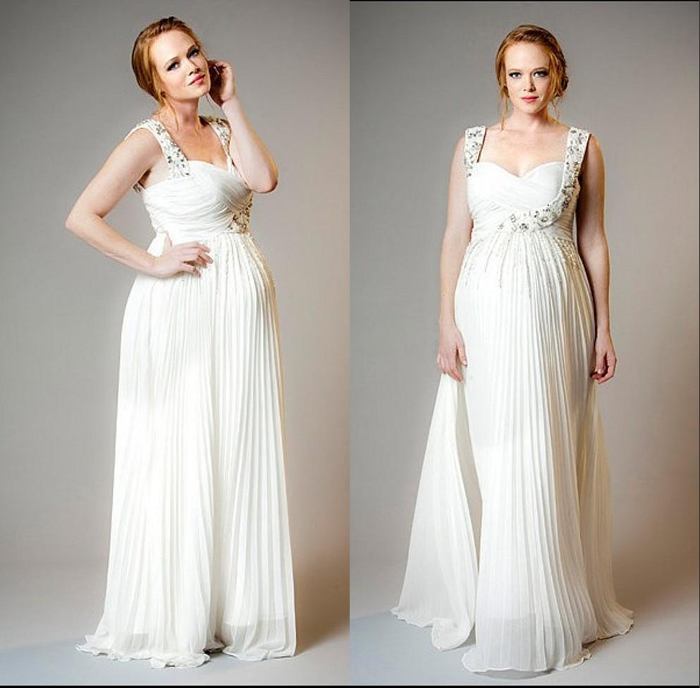 Plus size white chiffon maternity wedding dresses beaded for Plus size beaded wedding dresses
