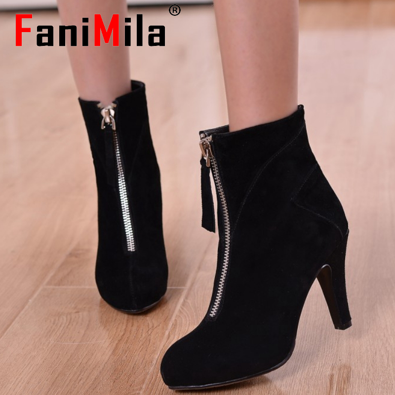 women real genuine leather high heels ankle boots brand half short boot warm autumn winter botas footwear shoes R7753 size 34-40<br><br>Aliexpress