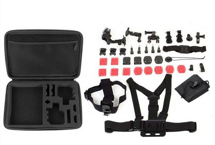 Go pro Xiaomi action camera Accessories sets 12 in 1 Pack kits Chest / Head Strap + Suction Cup+etc for Gopro4/ Sj4000 sport cam<br>