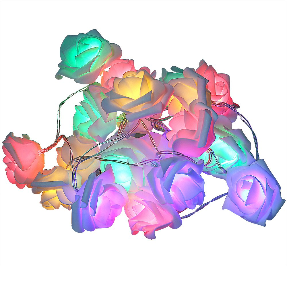 2016 Hot Fashion Holiday Lighting 20 x LED Novelty Rose Flower Fairy String Lights Wedding Garden Party Christmas Decoration(China (Mainland))