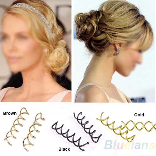 10 pcs 1set Spiral Spin Screw Pin Hair Clip Twist Barrette / Gold Brown Black 025G(China (Mainland))