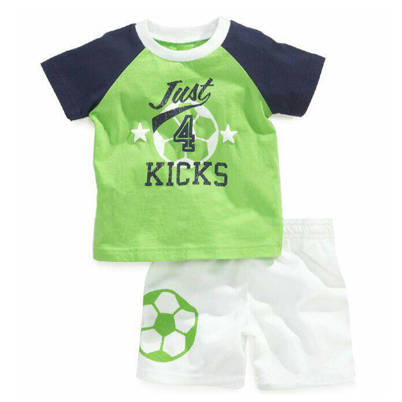 Summer New Boys Sports Suit Casual Boys 2PCS Football Clothing Set Short Sleeved T-shirt+White Shorts Cool Children's Clothing(China (Mainland))