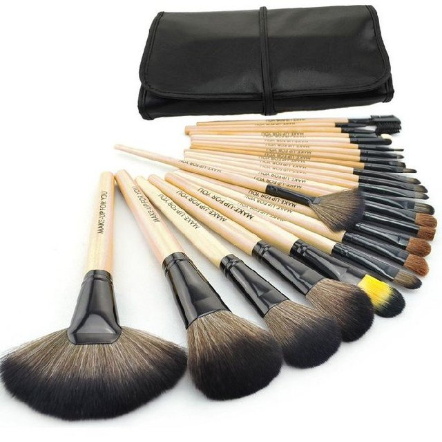 24PCS Handle Makeup Brushes Sets Cosmetic Tools Brush Kit With Waterproof Pouch Free Shipping