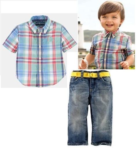 Children's Sets New kids plaid shirt sets Hot Summer high quality baby boys brand POLO shirt + jeans set Children casual wear(China (Mainland))