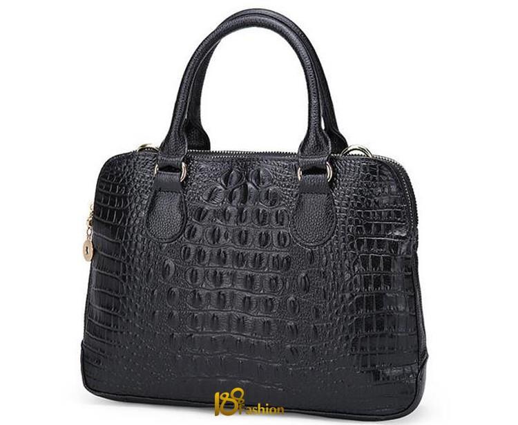 Women Bag Genuine Leather Handbag With Alligator Crocodile Fashion