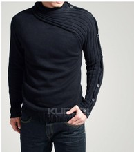 fashion high collar man' sweater,hot selling cotton sweater, casual sweater men, good quality low price and free shipping(China (Mainland))