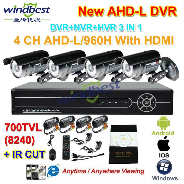 Home Security 4CH 960H AHD-L HDMI DVR 700TVL IR CUT 36pcs LED Nightvision Outdoor Waterproof CCTV Camera Surveillance Kit System<br><br>Aliexpress