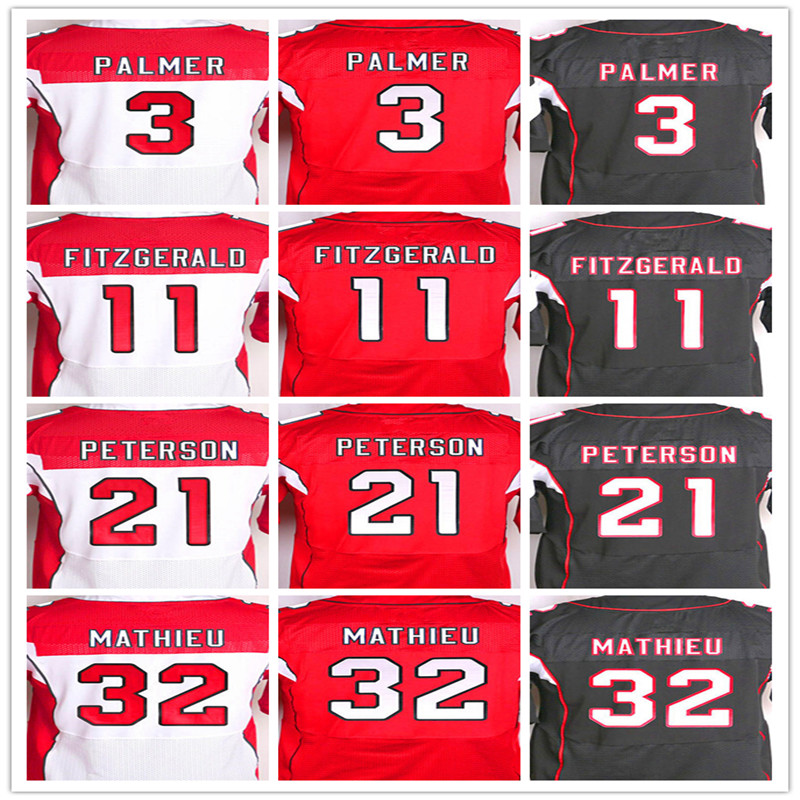 Best quality jersey,Men's 3 Carson Palmer 11 Larry Fitzgerald 21 Patrick Peterson 32 Tyrann Mathieu elite jersey,White Red Black(China (Mainland))