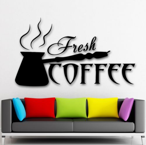 New 2015 Coffee Shop Vinyl Wall Decal Fresh Coffee Shop Time Cezve Kitchen Mural Art Wall Sticker Wall Decoration Glass Decor(China (Mainland))