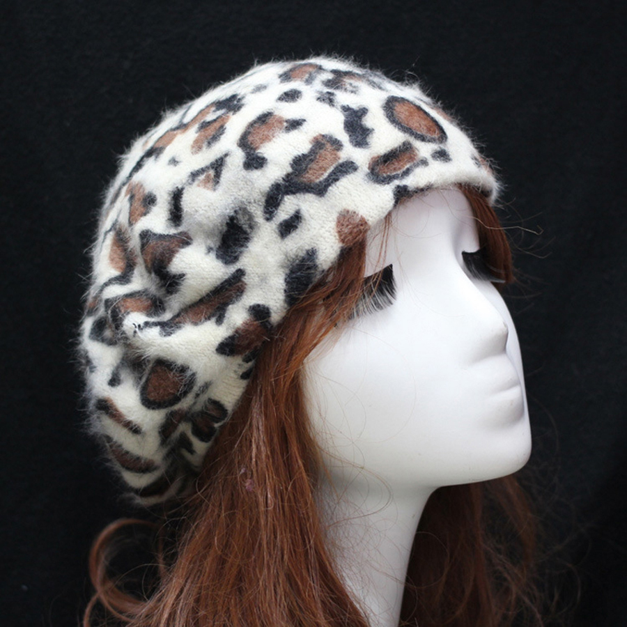 Cheapest Price Korean Style Fashion Lady Beret Leopard Pattern Women's Hats Angola Rabbit Hair Painter Caps Free Shipping SY321(China (Mainland))