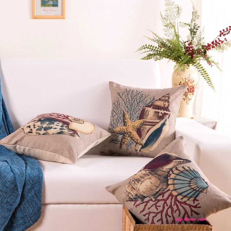New cotton pillow sofa cushion headrest beach series - Fundas cojines sofa ...