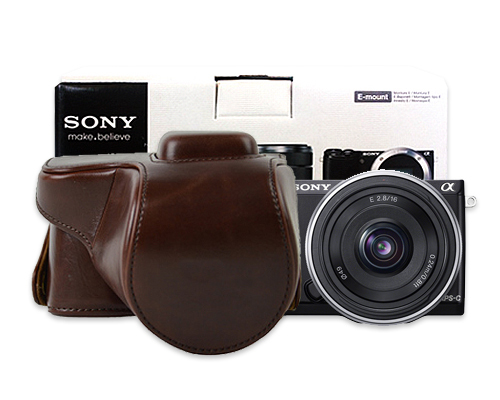 DSstyles PU Leather Vintage Professional Camera Bag/Case for Camera NEX5R 18-55MM lens Coffee Color(China (Mainland))