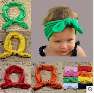 New Baby Girl Headwrap Top Knot Cotton Headband Fashion Ears Bow Hairband Baby Hair Accessories Hairware 10pcs/lot Free Shipping(China (Mainland))