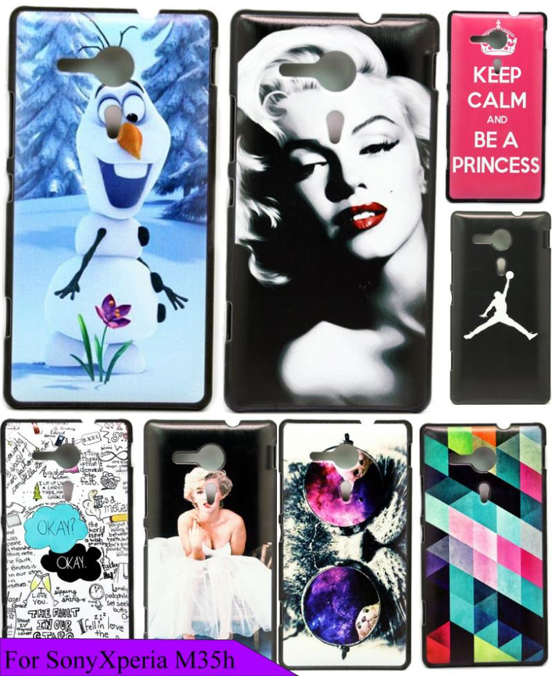 For Sony for xperia SP M35h Case Beauty Cute Cartoon Snowman White Sides Custom Painted Cover Plastic For M35h C5302 C5303 C5306(China (Mainland))