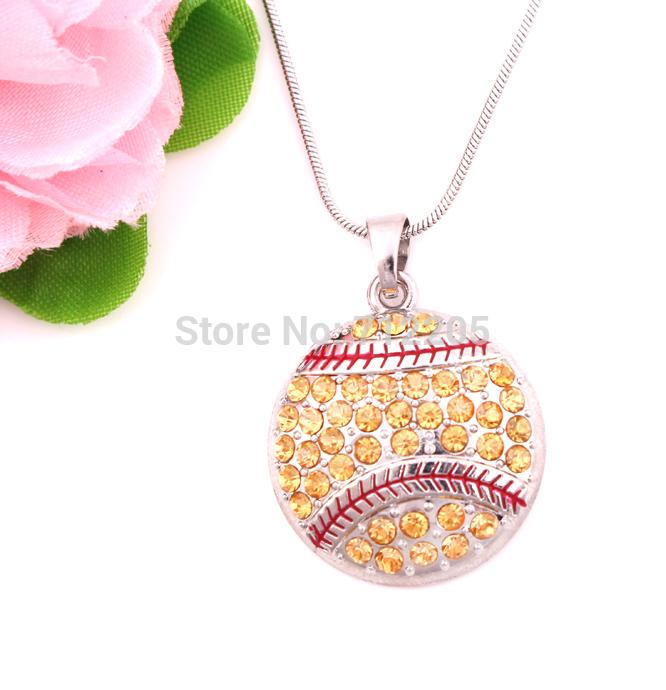 New product 10pcs zinc alloy rhodium Round Softball Pave Crystal sports Pendant chain necklaces(China (Mainland))