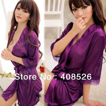 Sexy lingerie Mike Silk robe dress+g string set sleepwear costume sexy sleepwear kimono uniform 13137