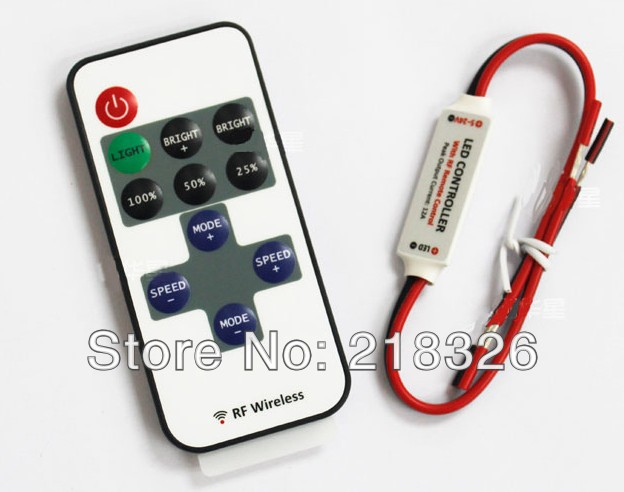 Mini RF LED Controller Single Color Wireless Remote Control Dimmer 5050 / 3528 Led Strip Lights - QIQI Huang's store