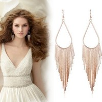 Sheegior Elegant Jewelry Fashion Exquisite Hollow water drop Long tassel Chain Temperament lady drop earrings Free shipping