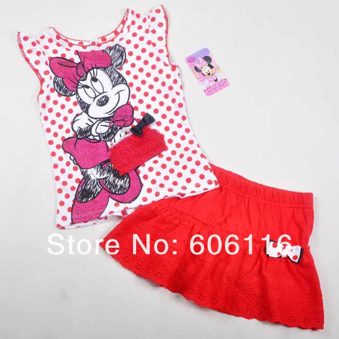 Retail high quality Children summer style clothing set kids girls minnie mouse T shirt and skirt summer wear (4-7years)<br><br>Aliexpress