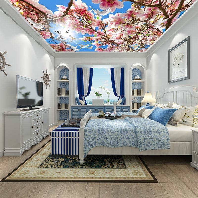 Custom sky ceiling murals wallpaper flowers under blue sky 3d landscape wallpaper mural for living room bedroom ceiling decor(China (Mainland))
