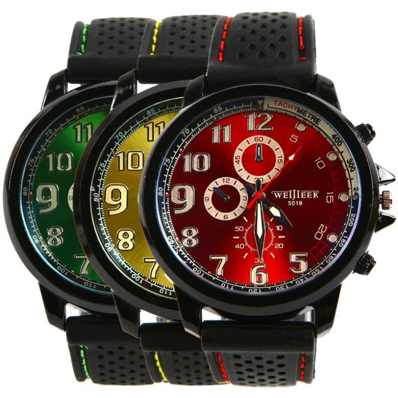 High Quality New Fashion Casual Men Sport Military Wristwatch Silicon Strap Analog Men Quartz Watch L05507
