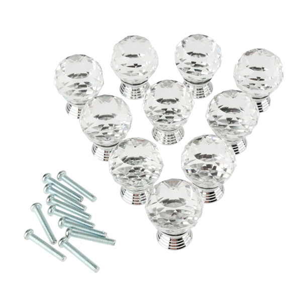 10x Crystal Glass Clear Cabinet Knob Drawer Pull Handle for Door Wardrobe <br><br>Aliexpress