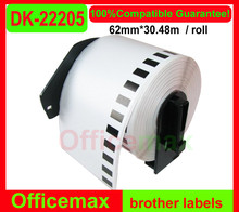 5x  Rolls Brother Compatible Labels 62mm x 30.48m, Continuous Paper Labels DK-22205+2 pcs of Detachable Frames DK 22205, DK 2205