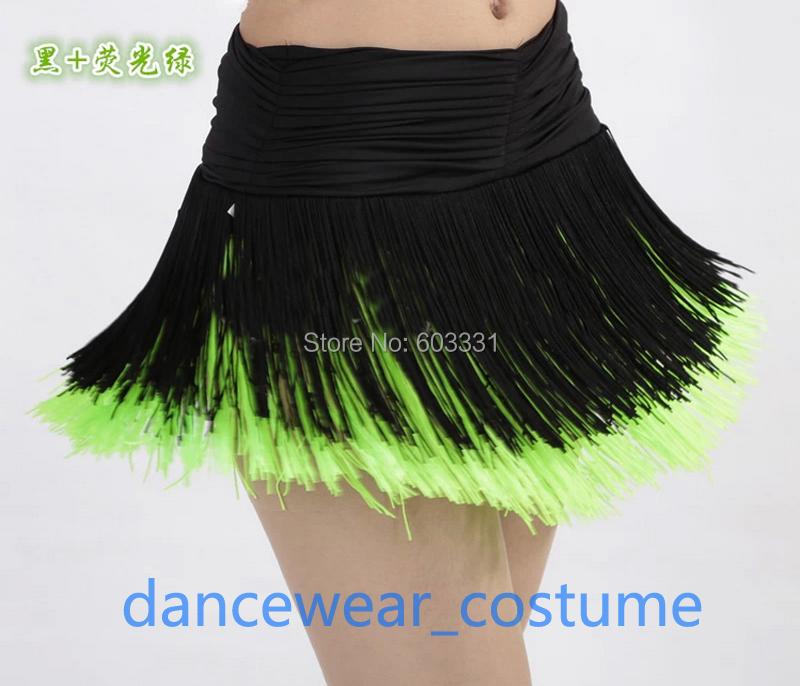 New Ladies Women's Party Prom Ballroom Latin Competition Practice Dance Dress Fringe Tassels Skirt Black Green 3SZ Free Shipping(China (Mainland))