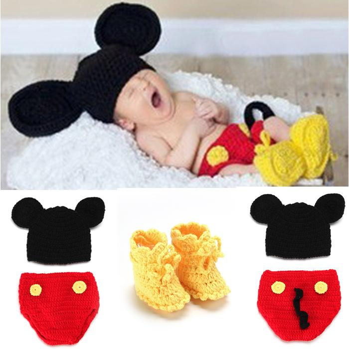 Hot Sale Mickey Design Newborn Crochet Photo Props Nursling Baby Beanie Hat Shorts& Shoes Set Infant Photo Props 1set MZS-14016(China (Mainland))