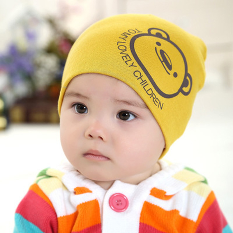 Retail 1-3 years old boys and girls summer spring baby hats,21 colors cotton animal printed infant caps kids knitted cap 095(China (Mainland))