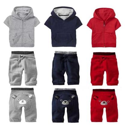 TOP hot 2014 New GAPS*S kids Short-sleeved jacket + pants 2 pcs set Children's sports suit brands Bear suit Free shipping(China (Mainland))