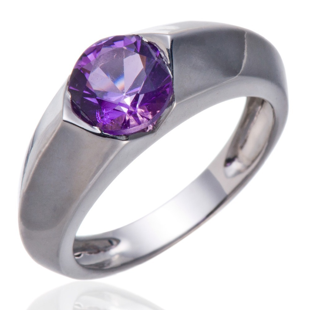 Round 7mm Purple Amethyst Gemstone Solid 925 Sterling Silver Solitaire Ring Fine Jewelry(China (Mainland))