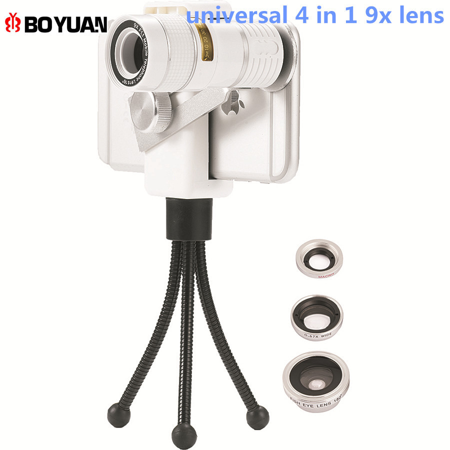 For All Smartphone Mobile Phone Lens Universal 4 in1 Fish Eye Wide Angle Macro Lenses 9X Telescope Telephoto Camera Lens Tripod